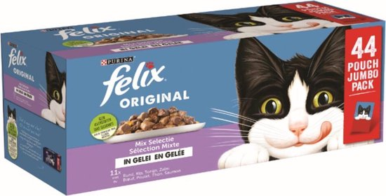 Felix Original Mix Selectie in Gelei - Kattenvoer Natvoer - 44 x 85g