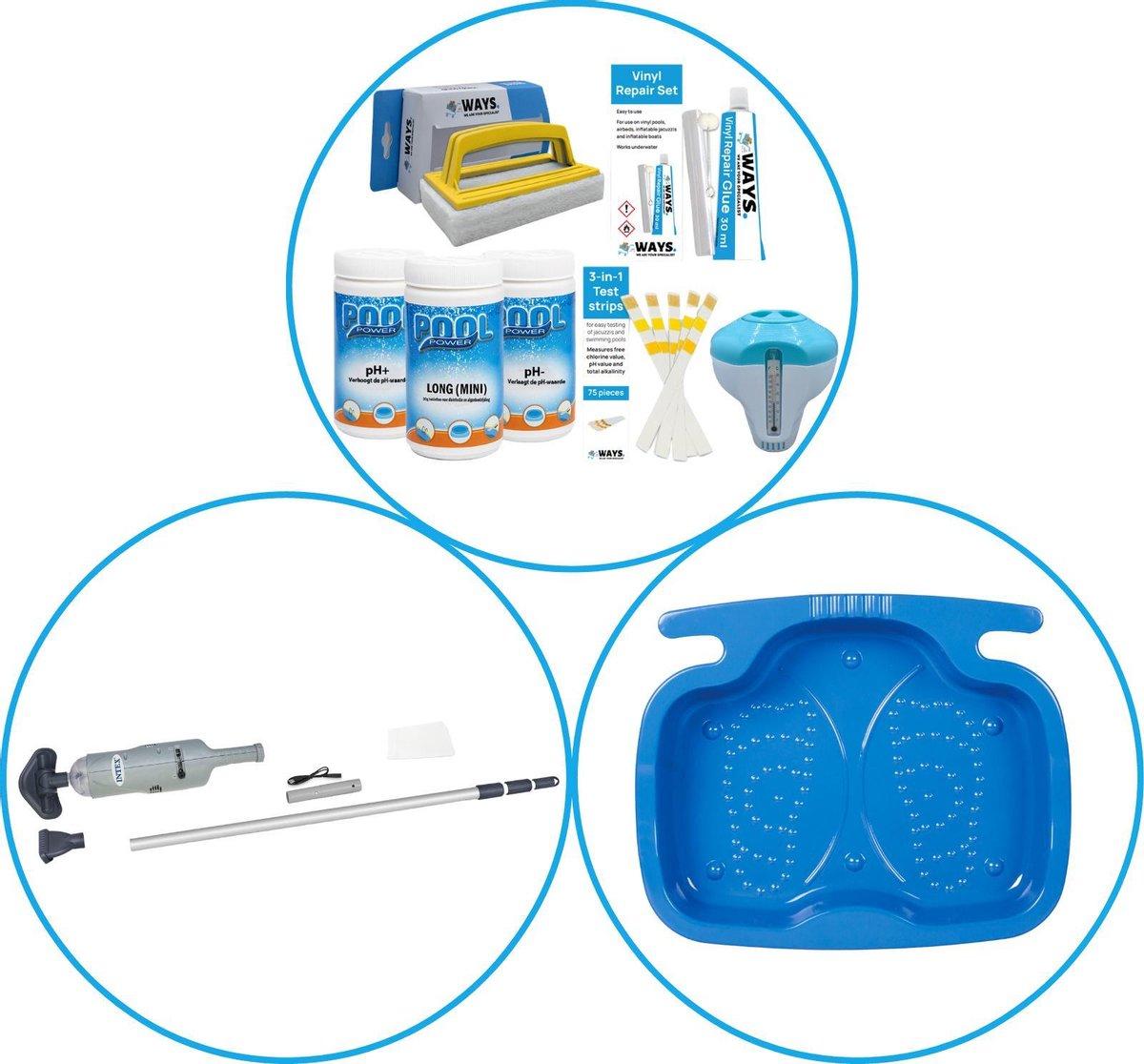Zwembad Accessoirepakket 3-delig - WAYS Onderhoudspakket & Zwembad stofzuiger & Voetenbad