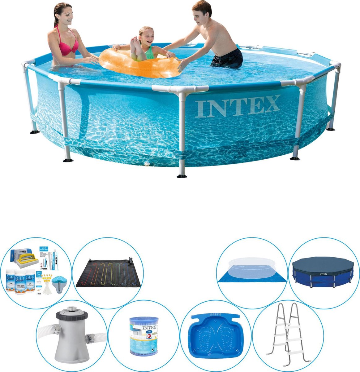 Zwembad Super Deal - Intex Metal Frame Rond Strandzijde 305x76 cm