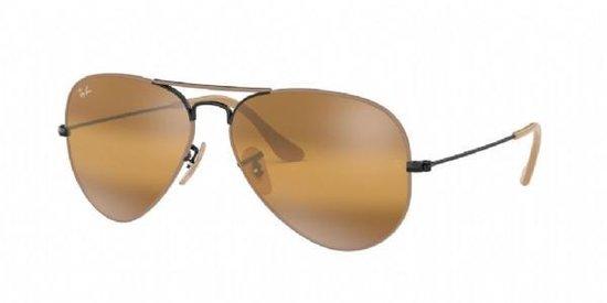 Sportbrillenshop - Ray-Ban Aviator Large Metal Light Brown Black / Yellow Mirror Gradient Maat: Medium (55) - Zonnebril -  - RB3025 9153AG