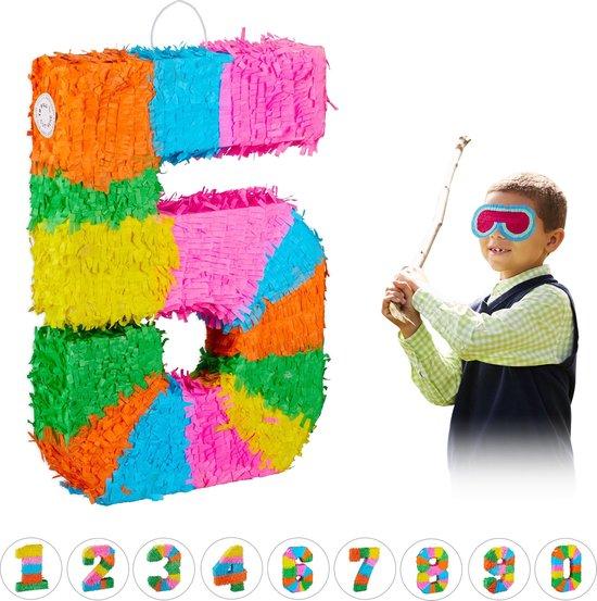 relaxdays pinata verjaardag getal - piñata zelf vullen - getallen van 0 tot 9 - gekleurd 5