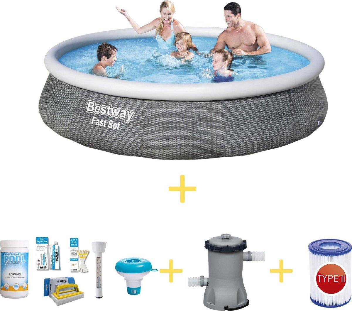 Bestway Zwembad - Fast Set - 396 x 84 cm - Inclusief WAYS Onderhoudspakket, Filterpomp & Filter