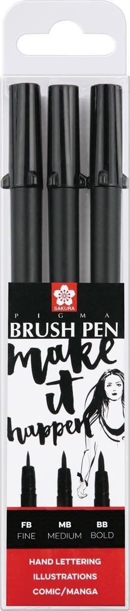 Sakura Pigma Brush Pen zwart - 3 diktes