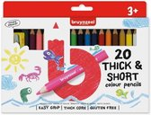 Bruynzeel | Korte, dikke kleurpotloden (20 kleuren, incl. puntenslijper)