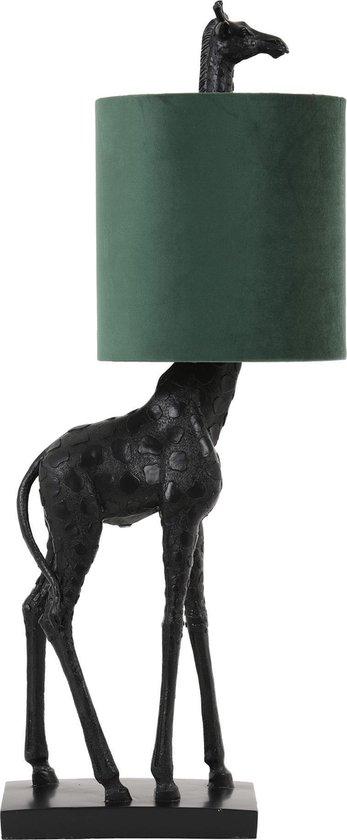 Light & Living Giraffe Tafellamp - Zwart/Donkergroen - 20x28x68cm