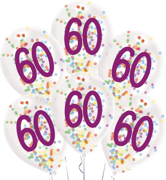 Amscan Ballonnen Confetti 60 Jaar 27,5 Cm Latex Wit 6 Stuks