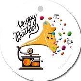 Tallies Cards - kadokaartjes  - bloemenkaartjes - Happy Birthday platenspeler - Primo - set van 5 kaarten - verjaardagskaart - verjaardag - felicitatie - proficiat - 100% Duurzaam