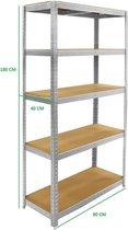 ERRO Metalen Opbergrek/Stellingkast met 5 legborden - 875kg draagkracht - (BxDxH) 90x40x180cm - 175kg per plank