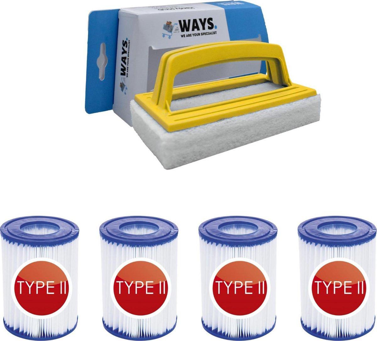 Bestway - Type II filters geschikt voor filterpomp 58383 - 4 stuks & WAYS scrubborstel