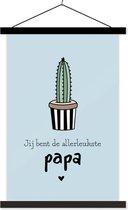 Cadeau Vaderdag quote Jij bent de allerleukste papa blauwe achtergrond schoolplaat 40x60 cm - Foto print op textielposter (wanddecoratie woonkamer/slaapkamer)