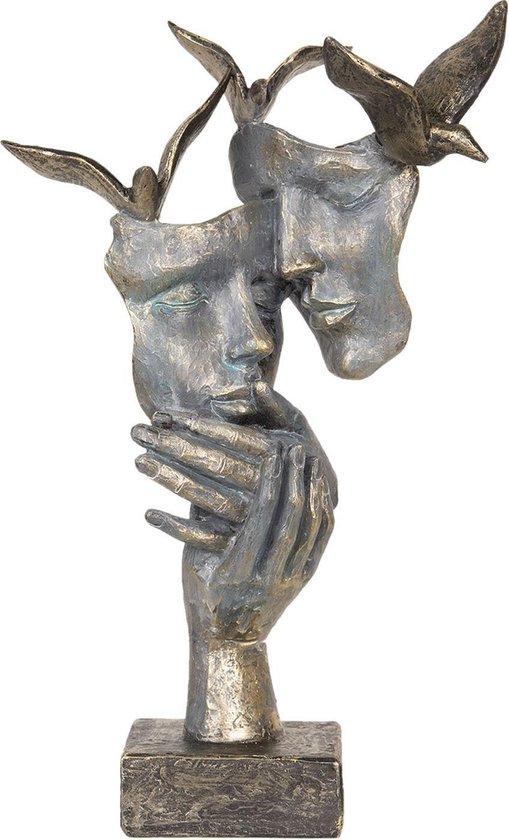 Decoratie maskers en duiven | 22*12*33 cm | Grijs | Kunststof | Gezichten | Clayre & Eef | 6PR2702