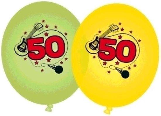 16x stuks Groene en gele ballonnen 50 jaar - Verjaardag leeftijdsversiering feestartikelen