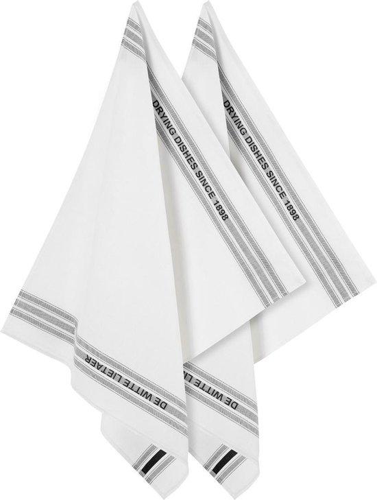 De Witte Lietaer Dish - Glazendoek - 65x70 cm - Set van 2 - Off-White-Black