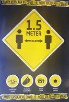 covid-19 1.5 meter sticker (5x)