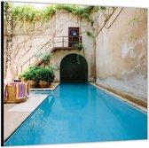 Dibond –Zwembad – 80x80 Foto op Aluminium (Wanddecoratie van metaal)