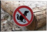 Dibond –Bord met Verboden Te Poepen voor Honden– 40x30 Foto op Aluminium (Wanddecoratie van metaal)