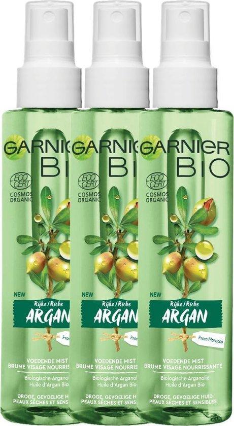 Garnier Bio Hydraterende Mist met Voedende Argan - 3 x 150 ml - Voor de normale tot gemengde huid - Multiverpakking