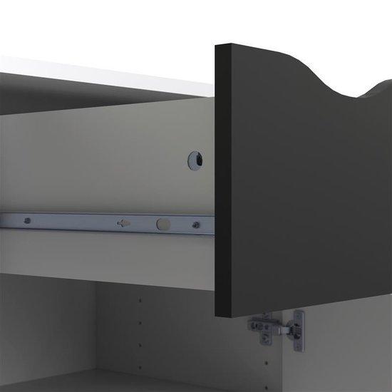 Napoli dressoir met 1 lade en 2 deurtjes wit/zwart.