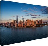 Luchtfoto Skyline New York Canvas 60x40 cm - Foto print op Canvas schilderij (Wanddecoratie woonkamer / slaapkamer) / Steden Canvas Schilderijen