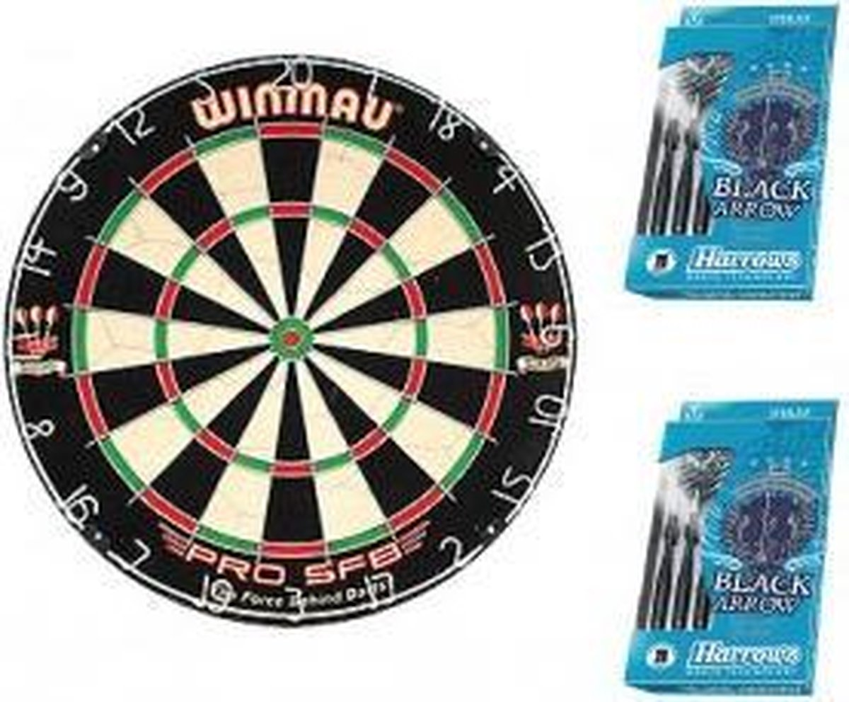 Dragon darts - Blue startersset - Winmau pro sfb - dartbord - plus 2 sets Harrows - dartpijlen