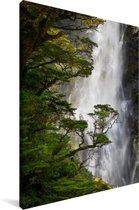 Waterval in het Nationaal park Arthur's Pass op South-Island Canvas 90x140 cm - Foto print op Canvas schilderij (Wanddecoratie woonkamer / slaapkamer)