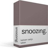 Snoozing - Katoen-satijn - Laken - Eenpersoons - 150x260 cm - Taupe