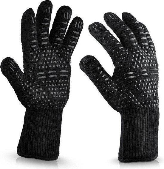2x Hittebestendige Oven & BBQ handschoen - Silicone patroon voor extra grip - Hittebestendig - Dubbel gevoerd – BBQ handschoenen - BBQ handschoen - Barbecue - Koken - Ovenwant - BBQ accessoires - Zwart