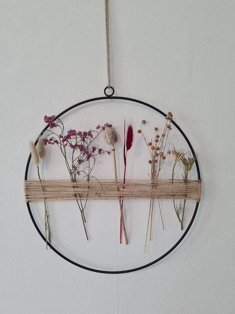 Decoratie ring krans met droogbloemen bloemenkrans 35cm rose en paars