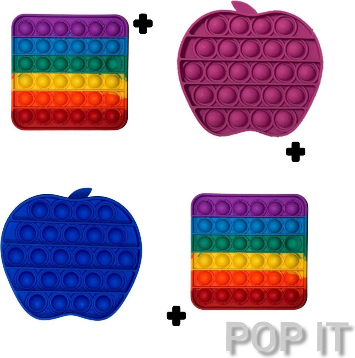 Fidget toys | Pop it pakket van 4 stuks | 2x Rainbow vierkant + Appel paars & blauw | Meisjes jongens volwassenen _ Anti stress 2021 _ Verjaardag cadeautip _ Leuk voor zwembad
