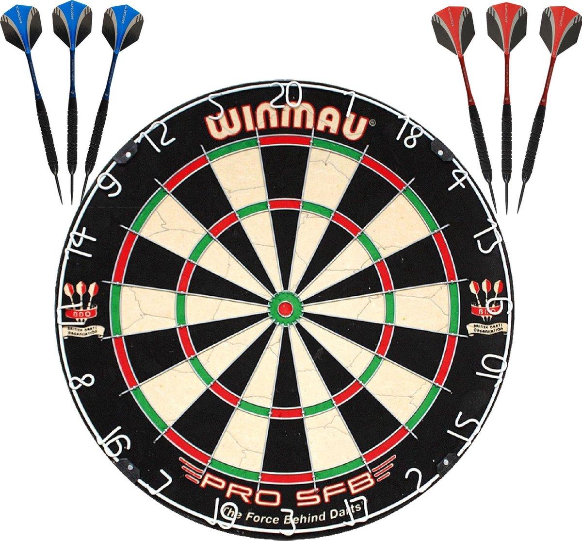 Winmau Pro SFB Dartbord + 2 Sets ABCDarts Sniper Black Darts Dartpijlen