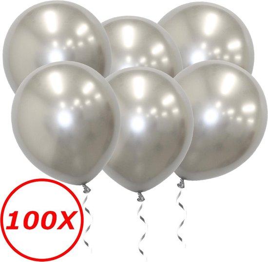 Luxe Chrome Ballonnen Zilver 100 Stuks - Helium Ballonnenset Metallic Silver Feestje Verjaardag Party