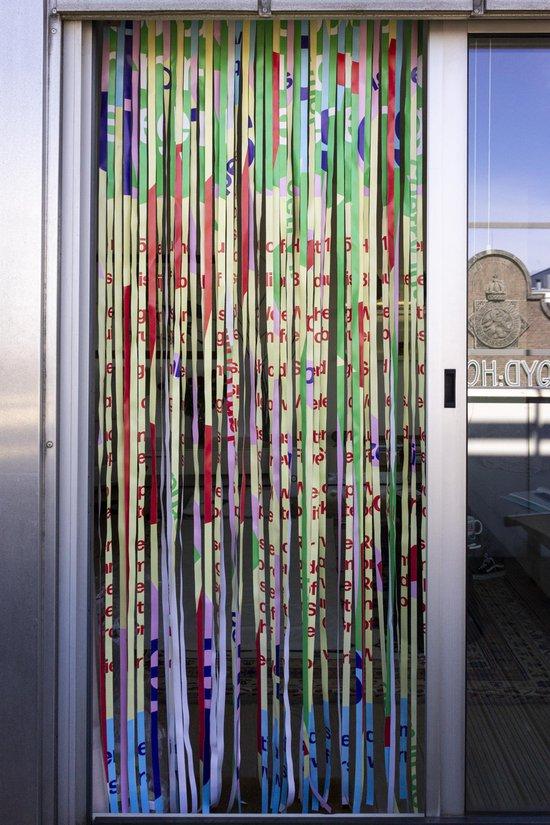 Re-Banner pastel - vliegengordijn - multi-kleurig - hardhout bovenkant - hoogte 240cm - duurzaam product