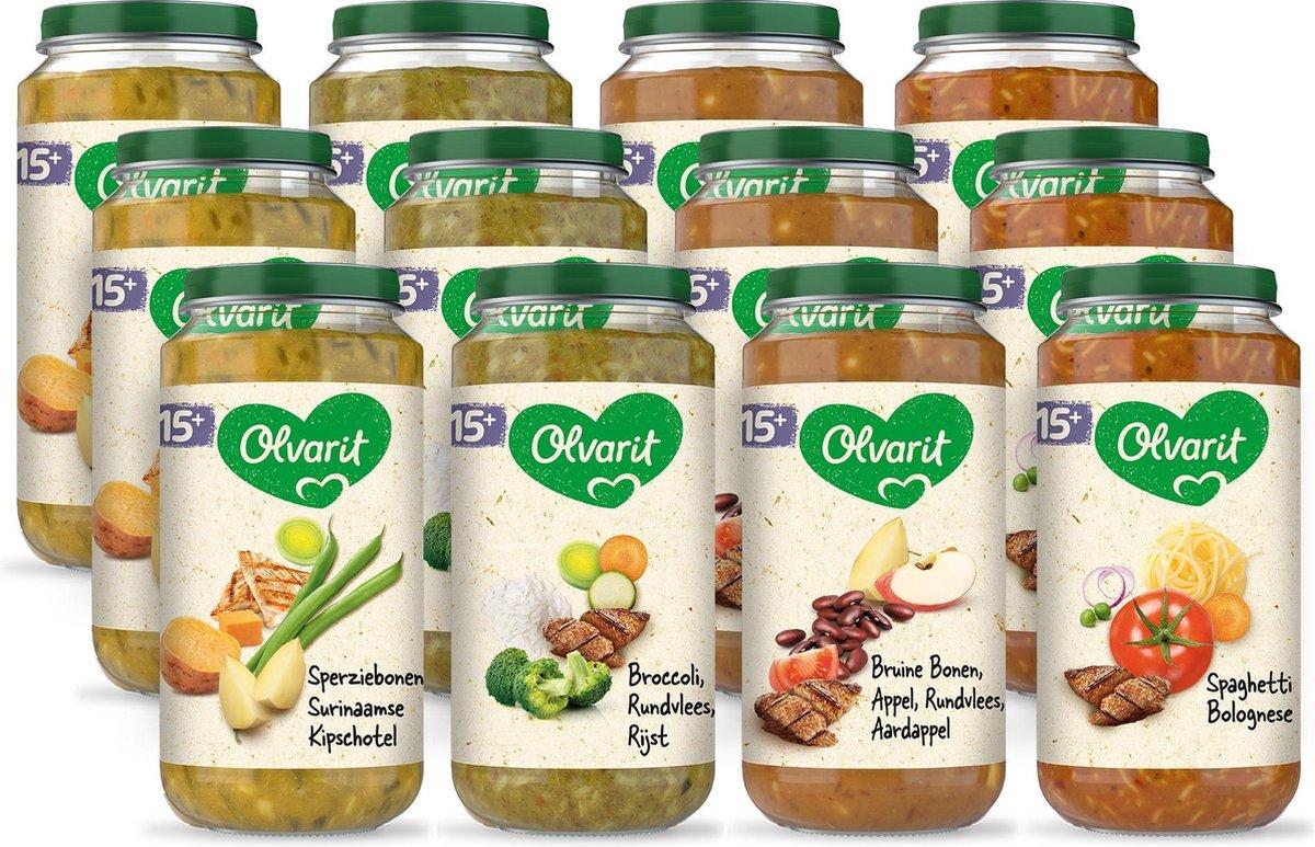 Olvarit Variatiemenu Maaltijd - babyhapje vanaf 15+ maanden - 4 smaken babyvoeding - 12 x 250 gram