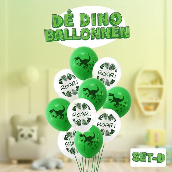 Dinosaurus ballonnen ! Set D! | Verschillende dino ballonnen voor op een kinderfeestje of kinderkamer! | Ook leuk als speelgoed | Op te blazen met een rietje of met helium |