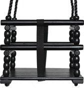 Houten Peuter Schommel Zwart met PP touwen Zwart (Nieuw)