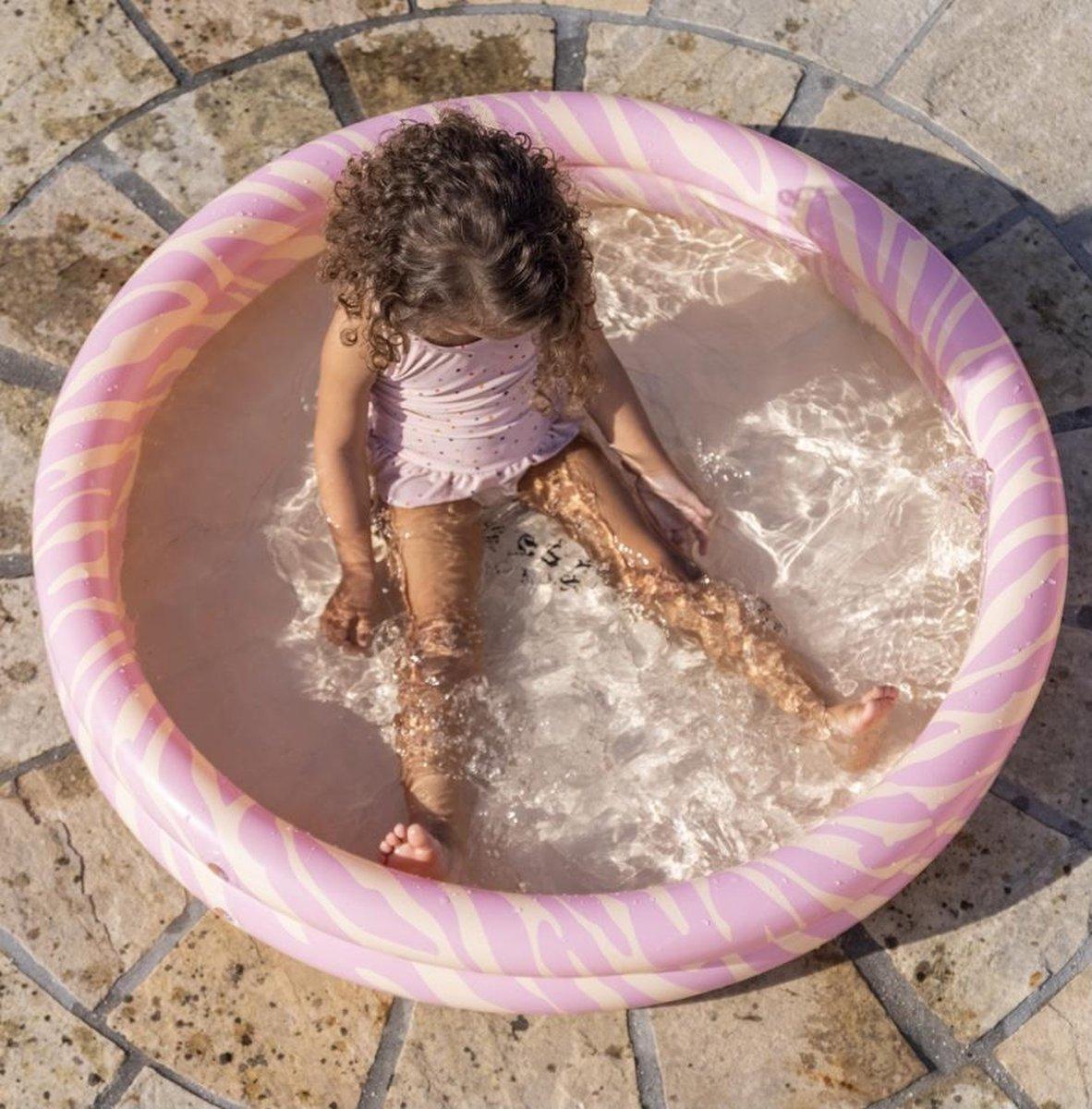 Swim Essentials kinderzwembad zebra (roze/geelgoud) - collectie 2021 - new collection - 100 cm - zwembad - babyzwembad - peuterbadje - zwembadje - zwemmen - zomer - strand - vakantie - baby - dreumes - peuter - kleuter - zebraprint