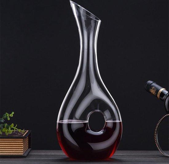 Crystal Purche Decanteer Karaf Wijn 1,4L – Wijn Accessoires – Wijn Decanter – Met Handvat – Kristal Glas - Decanteren – Decanteerkaraf