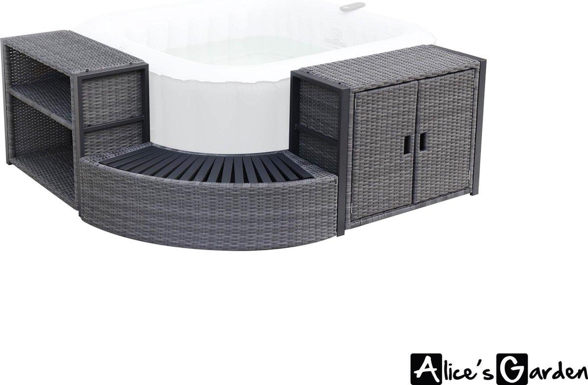 Ombouw voor 4-persoons vierkante SPA (158 x 68 cm) in grijs wicker met aluminium frame, met kastje, planken en opstap