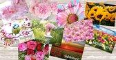 *** 10 DUBBELE Verjaardag Wenskaarten met Bloemen incl. enveloppen - set - tulpen - gevouwen - bloemenveld - gefeliciteerd - happy birthday - felicitatie - ansichtkaart - verjaardagskaart - vrolijk - vogeltje - rozen - roze ***