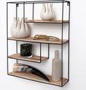 Zwart metalen wandrek industrieel met 4 houten plankjes - Rechthoek - 55x45x11 cm