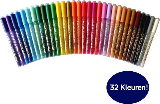 Afbeelding van Acryl Stiften, Acrylverf, Verfstiften, Happy Stones, XL Tekenset, Stiften, Tekenen Markers, Inclusief Etui