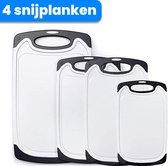 Snijplank Kunststof - Snijplank - Snijplankenset - 4 stuks - Wit - Anti slip - Snijplanken