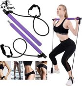 MJ Sports Premium Pilates Sticks - Professionele Fitness Bar - Pilates Stick - Yoga Stok - Pilates Set - Weerstandsband - Full Body Workout - Thuis Gym - Sport Elastiek - Home Trainer - Gymstick - Squat