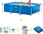 Intex Zwembad - Frame Pool - 260 x 160 x 65 - Inclusief WAYS Onderhoudspakket, Filterpomp & Grondzeil