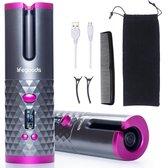 LifeGoods Automatische Krultang - Draagtas - USB Oplaadbaar - LCD Display - Draadloze Magic Hair Curler - Keramische Krulijzer - Roze/Grijs
