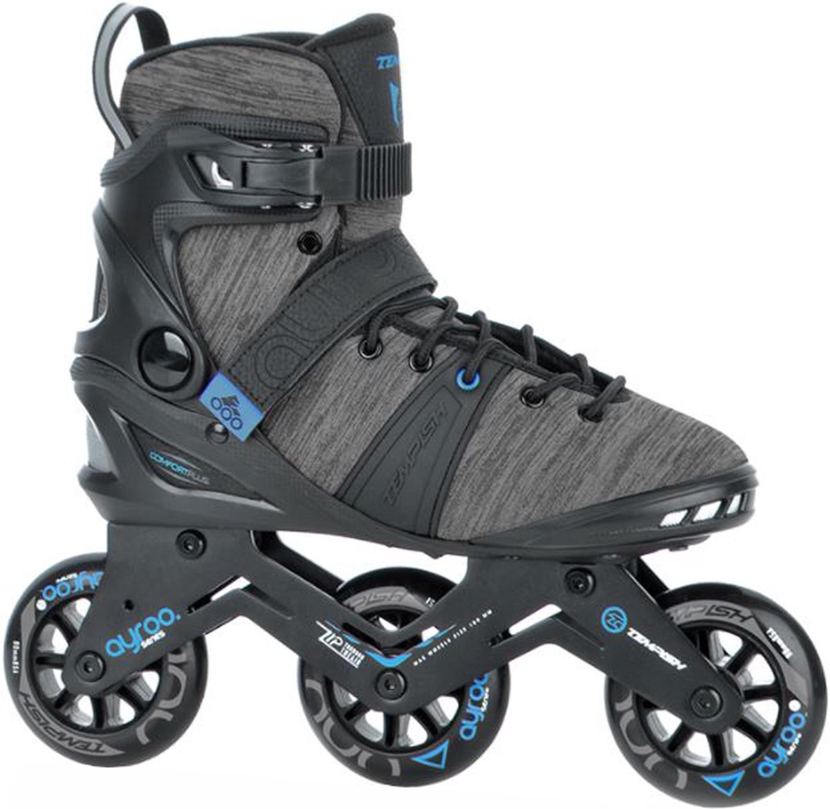 Tempish Ayroo 90 Inlineskates - Maat 39 - Unisex - zwart - grijs - blauw