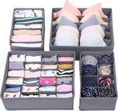 SWILIX ®  Lade Organizer - ladeverdeler - 4 stuks - kast organizer - Opbergbox - Opbergsysteem 45 vakken - Ondergoed / Sokken / Shirts / BH - Grijs