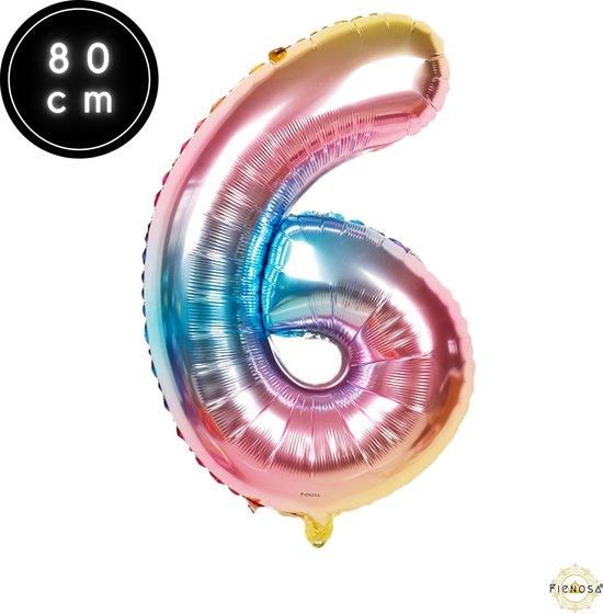 Cijfer Ballonnen - Cijfer Ballon Regenboog - Cijfer 6 Ballon - 82 cm Hoog - Ballonnen Verjaardag - Feestversiering - 16 Jaar - 60 jaar - Fienosa