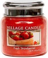 Village Candle Geurkaars Fresh Strawberries 7 Cm Wax/glas Rood