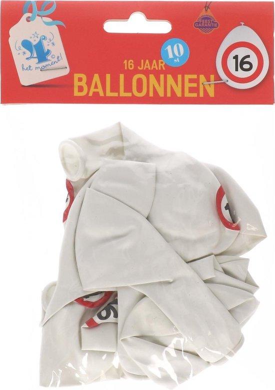 Verkeersbord | ballonnen 16 jaar - ballon 16 jaar - 10 stuks - gefeliciteerd 16 - jarig 16 - hiep hiep hoera 16 - verkeersbord 16 jaar - ballon 16 jaar - zestien jarig jubileum -